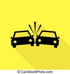 Crashed Cars sign. Black icon with flat style shadow path on yellow background.