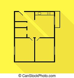 Apartment house floor plans. Black icon with flat style...