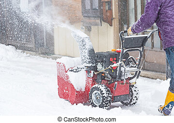 Snow removal machine - Close up of snow removal machine...