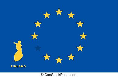 EU flag with Finland country. European Union membership...
