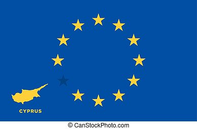EU flag with Cyprus country. European Union membership...