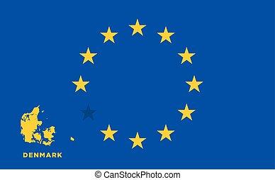 EU flag with Denmark country. European Union membership...