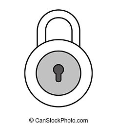 monochrome contour with padlock with round shape vector...