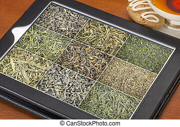 loose leaf green tea background on tablet - reviewing...