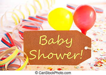 Party Label, Balloon, Streamer, Text Baby Shower