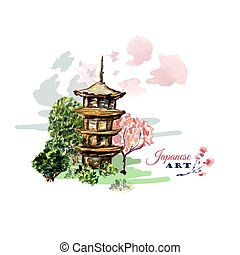 Card or poster with asia landscape, building and blossoming sakura branch tree in traditional japanese sumi-e style.