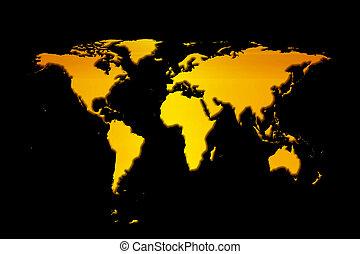 world map - orange world map with black background