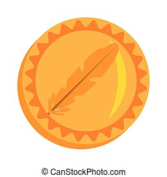 feathercoin money golden icon vector illustration eps 10