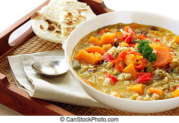 Vegetable Soup - Vegetable soup with Turkish bread, on a...