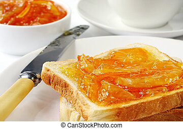 Toast and Marmalade - Toast with home-made orange marmalade,...