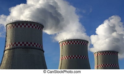 Smoking chimneys of power plant - Three smoking chimneys of...