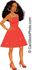 MixedWoman Red Sparkle Dress