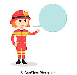fire woman with callout