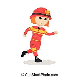 fire woman running illustration design