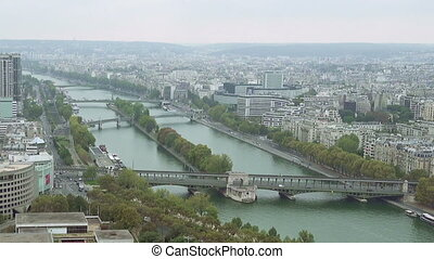 Paris aerial view of Seine and bridge