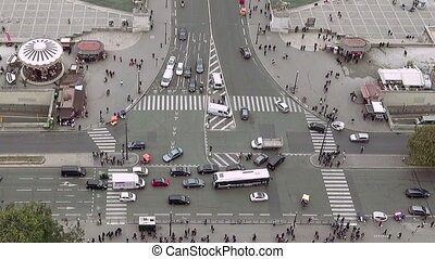 Aerial view of city intersection traffic in Paris, France