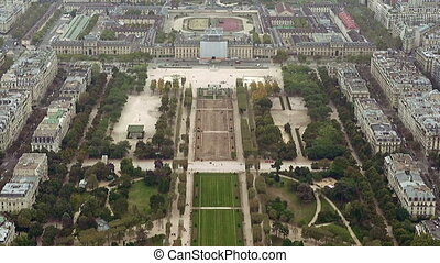 Paris aerial view Field of Mars - Paris aerial view of Champ...