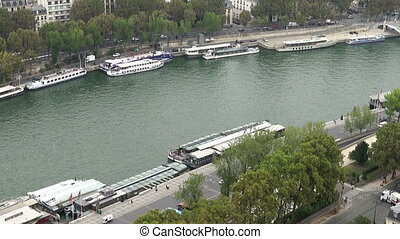 Paris aerial tilt view of Seine and bridges - Paris aerial...