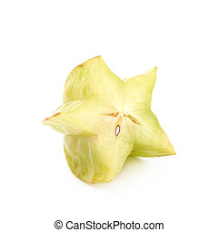 Sliced carambola fruit isolated - Sliced carambola starfruit...