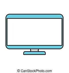 color contour with monitor widescreen vector illustration