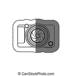 sticker monochrome contour of analog camera