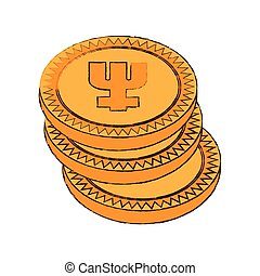 primecoin cryptocurrency stack icon vector illustration eps...