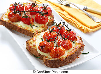 Grilled Cheese and Tomato - Open sandwiches with grilled...