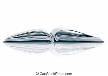 Open Book - Textook, open, reflected on white surface Toned...