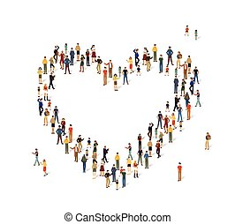 Group of people in the shape of a heart