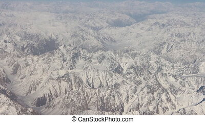 Flight over the highest mountain system of the world - the...