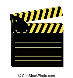 colorful silhouette with clapperboard cinema vector...