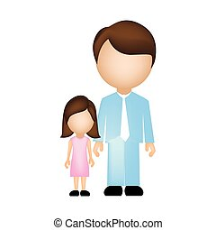 color silhouette faceless with father and daughter in formal clothes