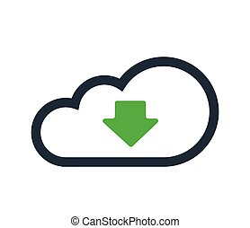 Cloud Computing with Download Icon