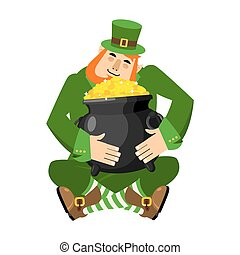 Leprechaun and pot of gold. My precious. St.Patrick 's Day.