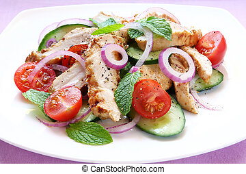 Chicken, Cucumber and Mint Salad - Salad of grilled chicken...