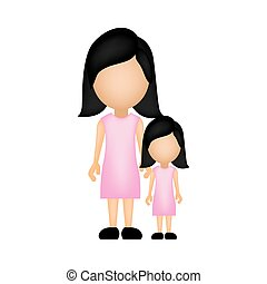 color silhouette faceless with mother and daughter in formal clothes