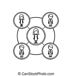 monochrome contour schematic with faceless working groups...