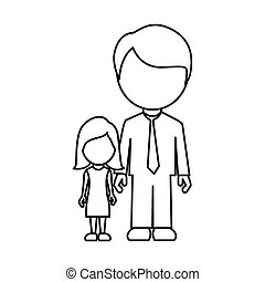 monochrome contour faceless with father and daughter in formal clothes