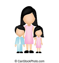 color silhouette faceless with mother daughter and son in formal clothes