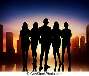 Silhouettes of group business people
