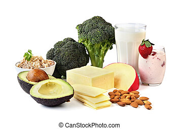 Sources of Calcium - Food sources of calcium, isolated on...