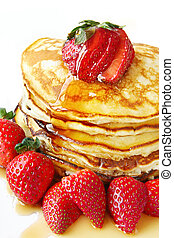 Pancakes with Strawberries - Stack of pancakes with fresh...