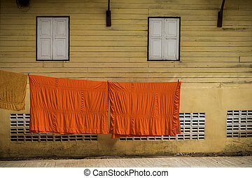thai monk cover clothes cleaning and sun drying in temple