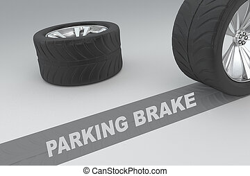 Parking Brake concept - 3D illustration of 'PARKING BRAKE'...