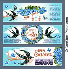 Easter banner set with spring birds and flowers