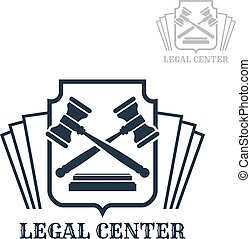 Legal center vector icon of gavel and law code - Advocacy or...