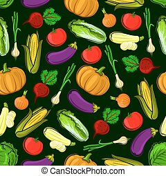 Vector icons of vegetables in seamless pattern. Vegetarian...