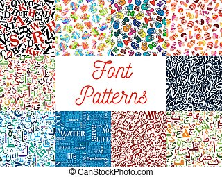 Font seamless patterns with letter and number