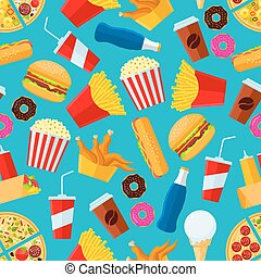 Fast food snacks and drinks seamless background - Fast food...