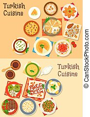 Turkish cuisine traditional dinner dishes icon - Turkish...